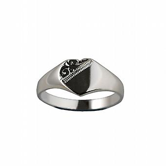 Silver 9x9mm solid hand engraved heart shaped Signet Ring Size Q