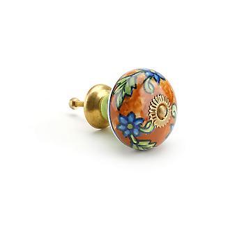 CGB gaveartikler Orange/blå blomst keramiske skuff håndtak