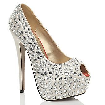 Ajvani Womens Peep Toe Plattform high-Heel Abschlussball Hochzeit Braut Gericht Schuhe Sandalen Pumpen
