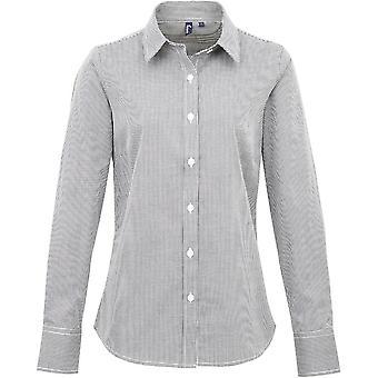 Corporate Shirt met premier Womens/dames pastel Microcheck lange mouwen