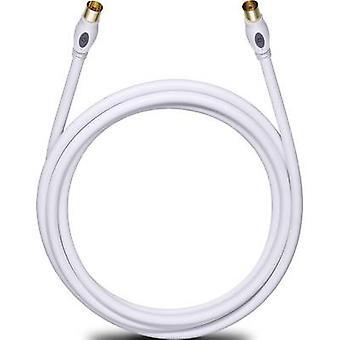 Anteny, kabel SAT [1 x wtyk Mead-Lee/IEC 75Ω - 1 x gniazdo IEC-Mead-Lee 75Ω] 7.50 m 120 dB pozłacane złącza biały Oehlbach transmisji oraz