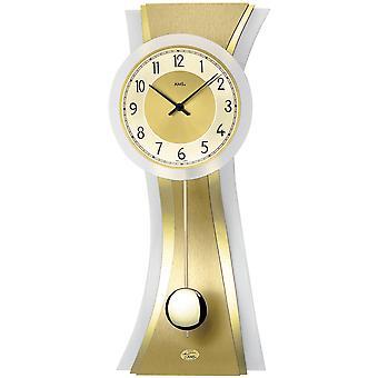 الجدار على مدار الساعة الكوارتز الجدار على مدار الساعة مع البندول الذهب-ملون-متجمد الزجاج الألمنيوم منصات