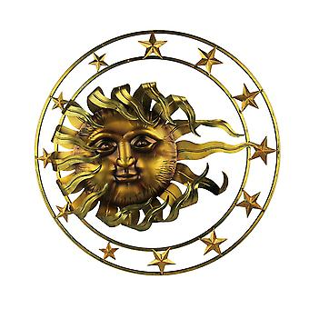 Golden Metal Celestial Sun and Stars Wall Sculpture