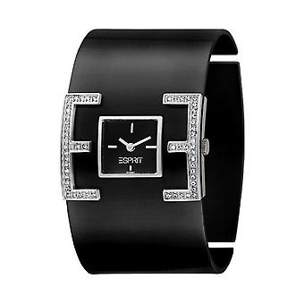 Elegante große Esprit Damenuhr Schwarz Silber Schmuck Steinen UK Verkäufer + Garantie