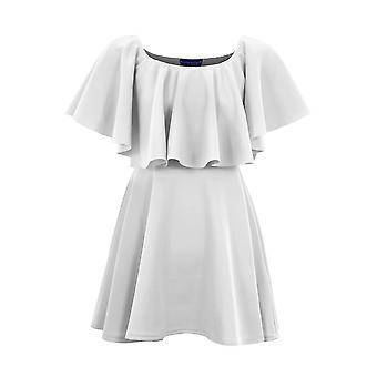 Ladies Celeb Inspired Off Shoulder Frill Women's Flared Summer Swing Short Dress