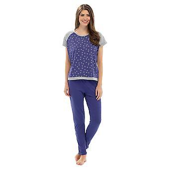 Tom Franks Ladies Star Print Polycotton Long Pyjama Pyjama Lounge Wear - Violetti - L-XL