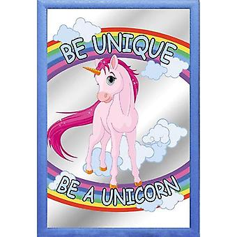 Unicorn mirror - BE UNIQUE BE A UNICORN-wall mirror colored printed, plastic framing pale blue, wood-look.