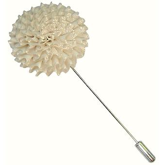 Bassin y Pin de solapa chaqueta marrón crisantemo flor - blanco