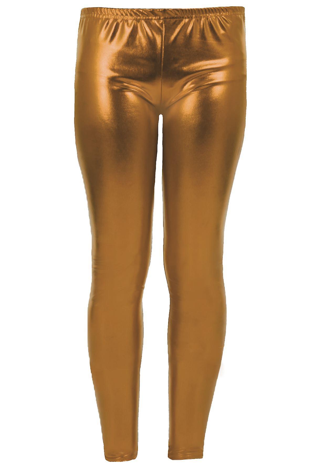 Tytöt lasten metallinen kiiltävä lapset märkä näyttää Footless Party Disco housut säärystimet