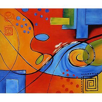 تجريدي، لوحة زيتية على قماش، 50x60 سم