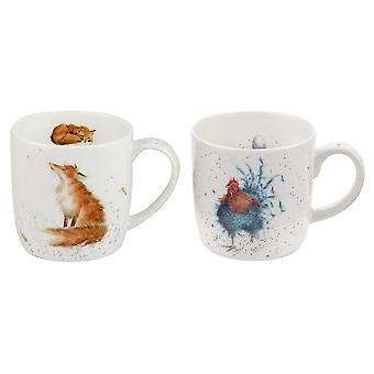 Wrendale Designs Cockerel en Fox mok Set van 2