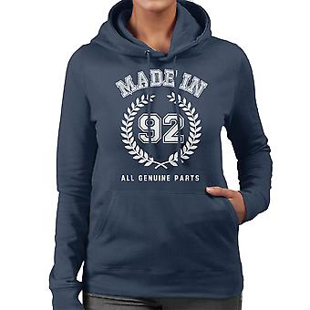Made In 92 All Genuine Parts Women's Hooded Sweatshirt