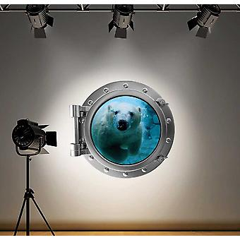 Full Colour Polar Bear Porthole Ocean Wall Sticker