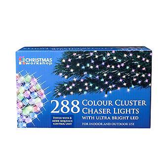 The Christmas Workshop Xmas 288 LED Chaser Cluster String Lights, Multi-Coloured