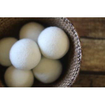Wool Dryer Ball Set - 6 Natural Fabric Softner Reusable Washing Laundry Drying Ball - Static Reducer - White