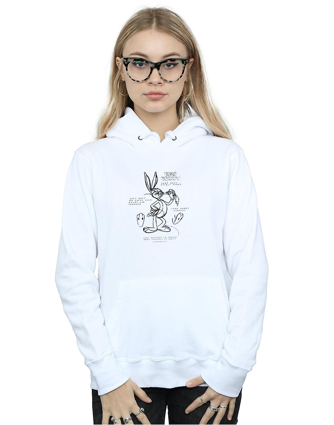 Looney Tunes Women's Bugs Bunny Drawing Instruction Hoodie