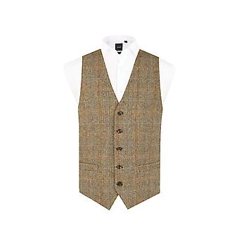 Scottish Harris Tweed Mens Brown Tweed Kamizelka Regular Fit Windowpane Check
