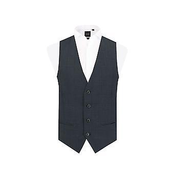 Dobell Herre Navy vest Slim Fit rude Check