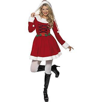 Miss Santa Nikolaus señoras traje con capucha, rojo