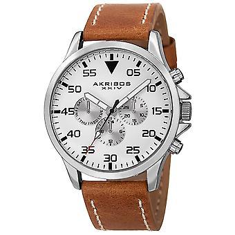 Akribos XXIV AK773SSBR Sveitsin monitoimilaitteet päivä päivä määrä nahka hihna Watch