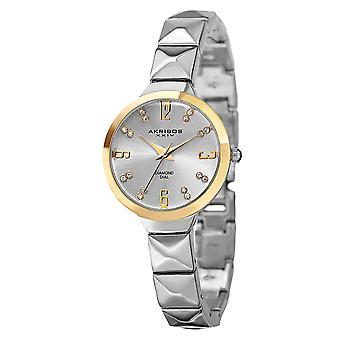 Akirbos XXIV AK793SS Women ' s Swiss kvarts diamant markörer silver-Tone arm band Watch