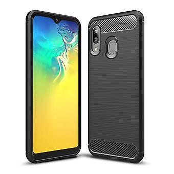 Samsung Galaxy A20e TPU Case Carbon Fiber Optik Brushed Schutz Hülle Grau