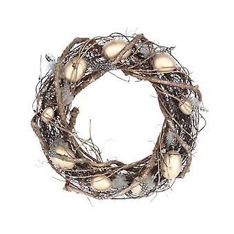 Gisela Graham Twig Wreath With Gold Eggs