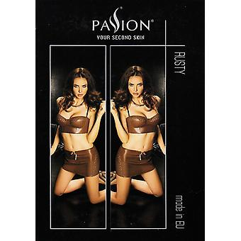 Passion Lingerie Rusty Brown Faux Leather Mini Skirt & Bustier