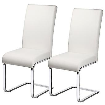 Set of 2 Stylish White Durable Faux Leather Dining Chairs