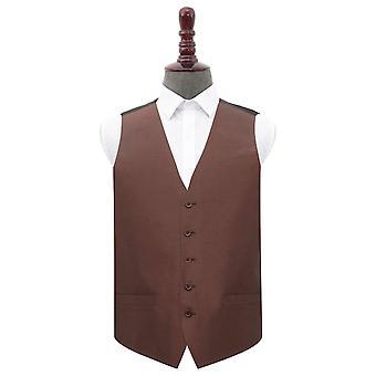Chocolate Brown Plain Shantung Wedding Waistcoat