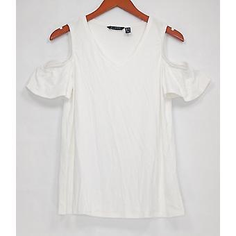 H de Halston Women's Top Knit Crepe V-Neck Cold Shoulder White A308098