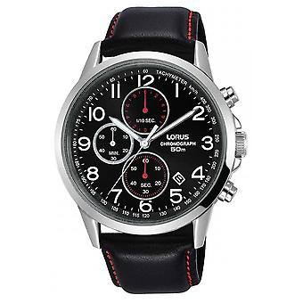 Lorus Mens Chronograph Black Leather Strap Black Dial RM369EX8 Watch