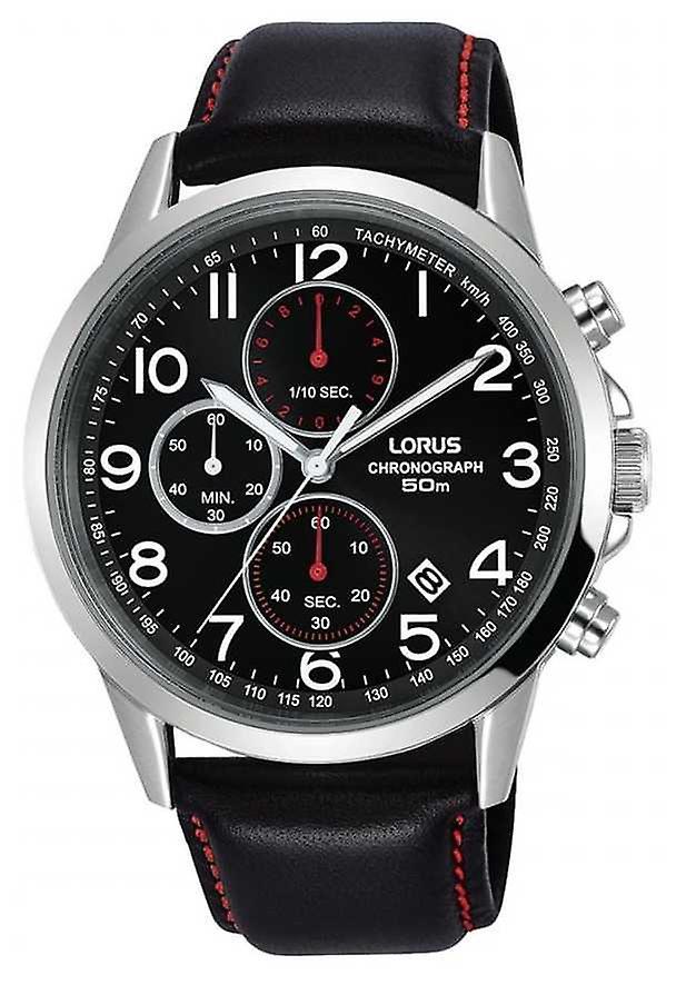 Lorus Mens Chronograph Black Leather Strap Black Dial RM369EX8 Watch