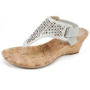 WHITE MOUNTAIN Shoes Arnette Women's Sandal, Silver/Metallic Fabric, 11 M