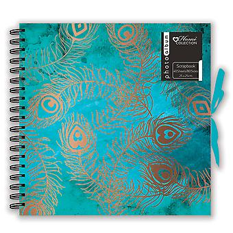 Peacock Feather Design Spiral Bound Photo Album Scrapbook 40 Sheets 25 x 25cm