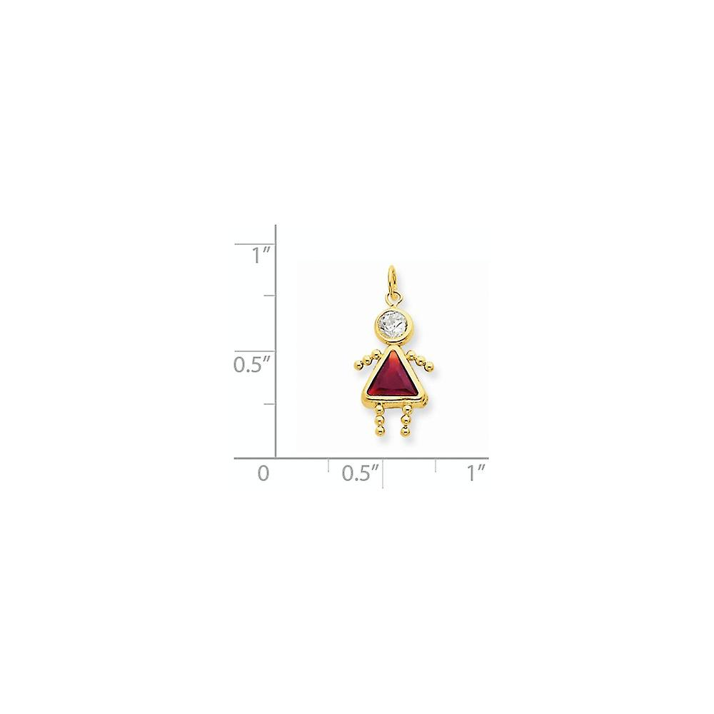 14k Yellow Gold Polished Simulated January Girl Charm Pendant Necklace Jewelry Gifts for Women