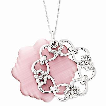 925 Sterling Zilver gepolijst Verplaatsbare Gift Boxed Spring Ring Rhodium verguld cubic Zirconia en Gesimuleerde Katten Eye Love N
