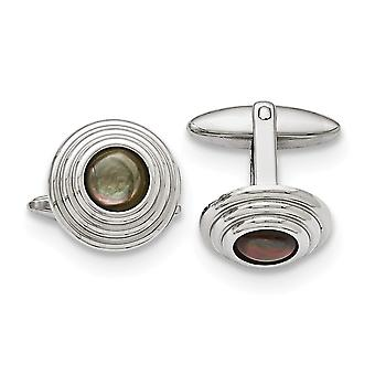 Stainless Steel Polished Black Simulated Mother of Pearl Cuff Links Jewelry Gifts for Men