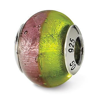 925 Sterling Sølv Polert Italiensk Murano Glass Refleksjoner Rosa Grønn Italiensk Murano Perle Sjarm Anheng Halskjede Jewe