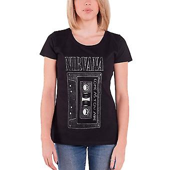 Nirvana T Shirt As You Are Band Logo new Official Womens Skinny Fit Black