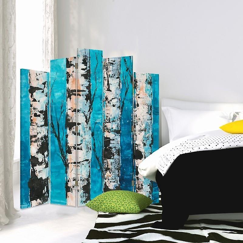 Diviseur de pièce décoratif, 5 panneaux, toile, troncs de bouleau