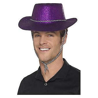 Adults Purple Cowboy Glitter Hat Fancy Dress Accessory