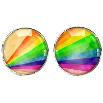 Bassin and Brown Rainbow Stripe Cufflinks - Multi-colour