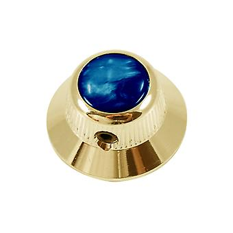 Q Parts Ufo Knob - Abalone Shell Cap - Blue / Gold Base