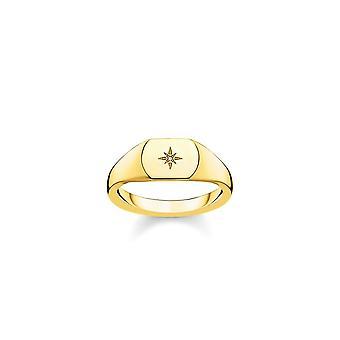 תומאס Sabo סטרלינג כסף תומאס Sabo זהב כוכב וינטאג ' טבעת חותם היהלומים D_TR0038-924-14