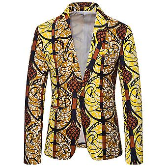 Allthemen Men's Casual One-button National Retro Printed Leaf Blazer