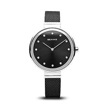 Uhr Bering 12034-102 - schwarzes Zifferblatt glänzend Stahl-Box mit Swarovski schwarz Milanese Stahl Armband