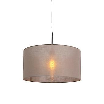 QAZQA Country lâmpada pendurada preta com tonalidade taupe 50 cm - Combi 1