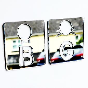 BG Heads Boys & Girls Toilet Acrylic Mirrored Door Signs