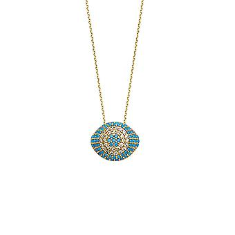 14k Yellow Gold Cubic Zirconia Nano Simulated Turquoise Puffed Evil Eye Necklace 18 Inch Jewelry Gifts for Women